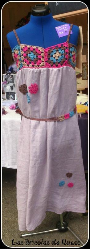 robe en lin couture et crochet