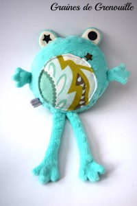 doudou turquoise grenouille graine de grenouille