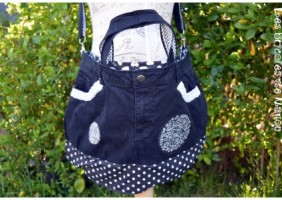 sac jeans noir customisation recyclage
