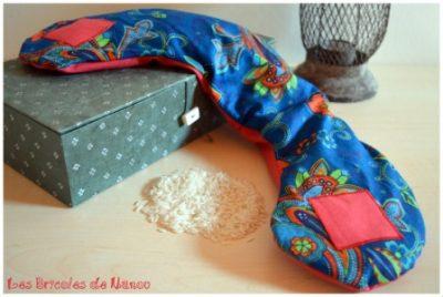 bouillotte sèche cervicale bleue et orange