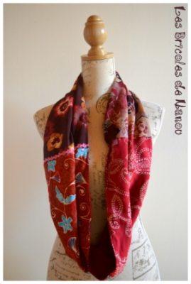 tour de cou patchwork 4 tissus rouges