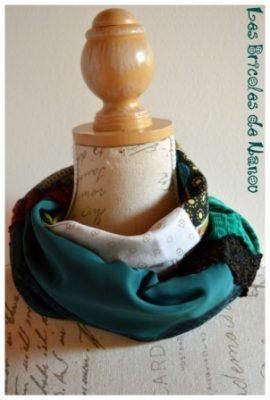 tour de cou patchwork 4 tissus vert et blanc