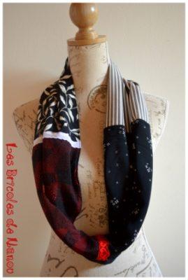 tour de cou patchwork 4 tissus rouge noir et blanc
