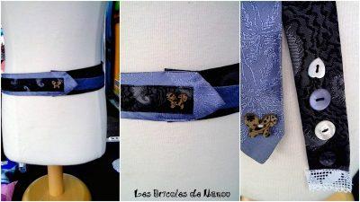 ceinture cravate noire et bleue