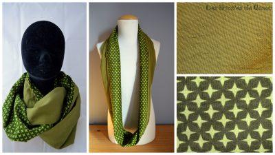 tour de cou coton et velours milleraies vert