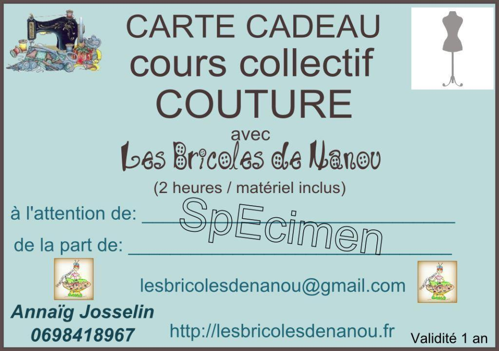 Carte cadeau cours de couture collectif 2 heures les - Carte cadeau cours de cuisine ...