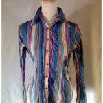 Boléro et bustier chemise rayures bleues et violettes