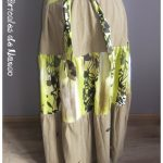 Jupe à volants lin fleuri vert