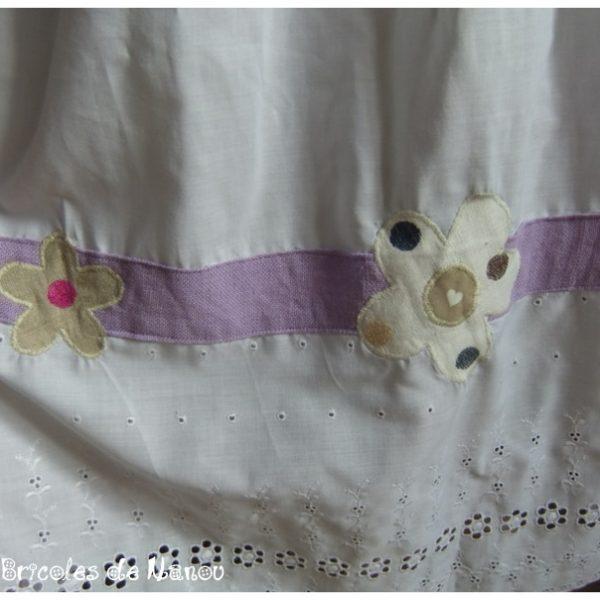 Jupon blanc et lilas broderies anglaises et fleurs