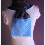 Foulard écharpe coton et dentelle gris et bleu