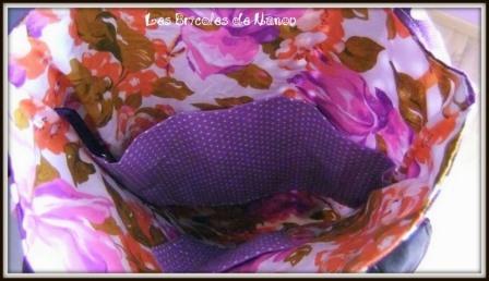 Sac cabas violet et marron à pois