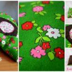Bouillotte rectangulaire verte à fleurs