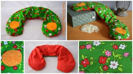 Bouillotte cervicale rouge et verte à fleurs