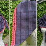 Foulard à pompons violet et rose