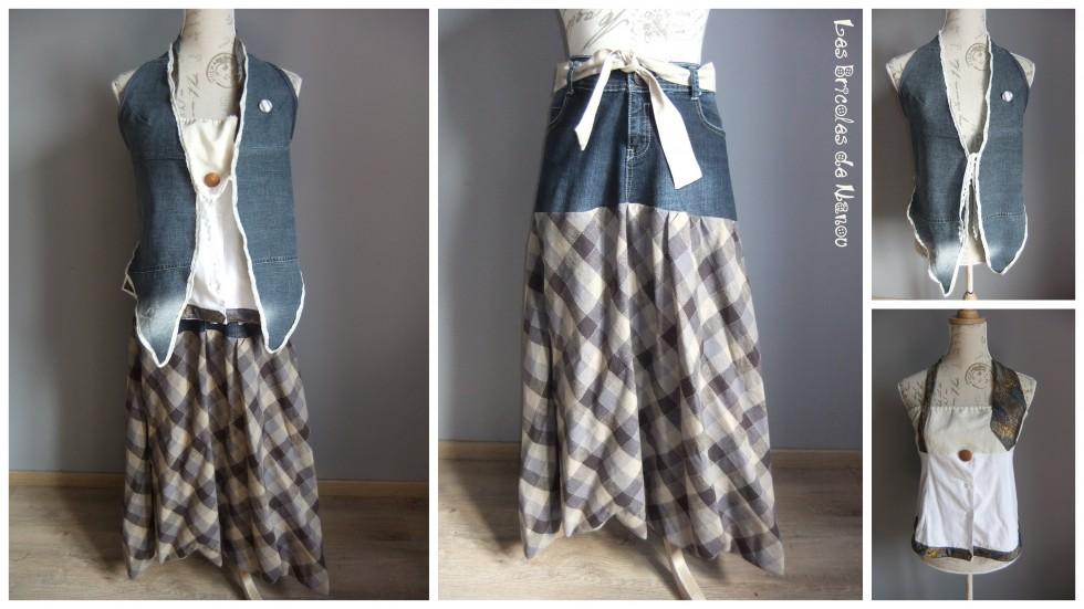Ensemble customisation  jeans, cravate bustier et chemise