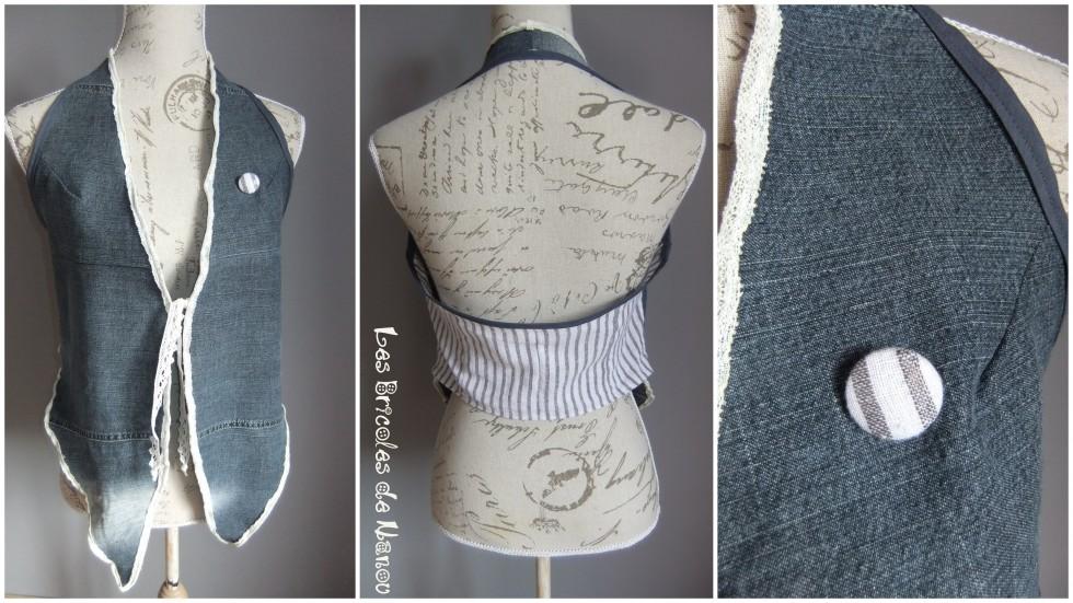 Haut customisation  jean en gilet