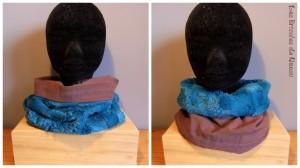 snood réversible en tissu microfibre tout doux turquoise et cotonnade violette.