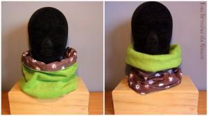 snood réversible en tissu polaire vert et coton à motifs (fleurs et peace and love).