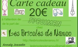 carte cadeau 20€ spécimen