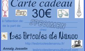 carte cadeau 30€ spécimen