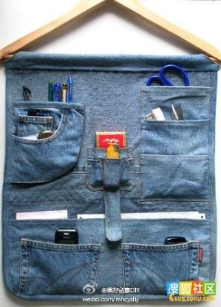 Trucs et astuces pour organiser son atelier: vide poche customisation jeans
