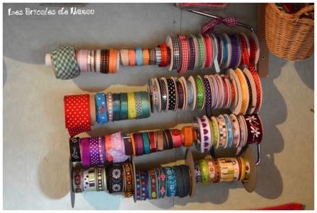 Organisation atelier: rangement rubans sur cintre