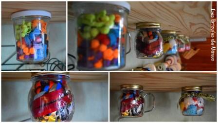 Organisation atelier: rangement dans pots
