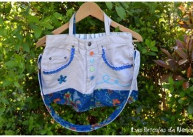 sac jeans bleu ciel customisation recyclage
