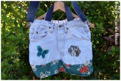 sac jeans bleu ciel coton vert