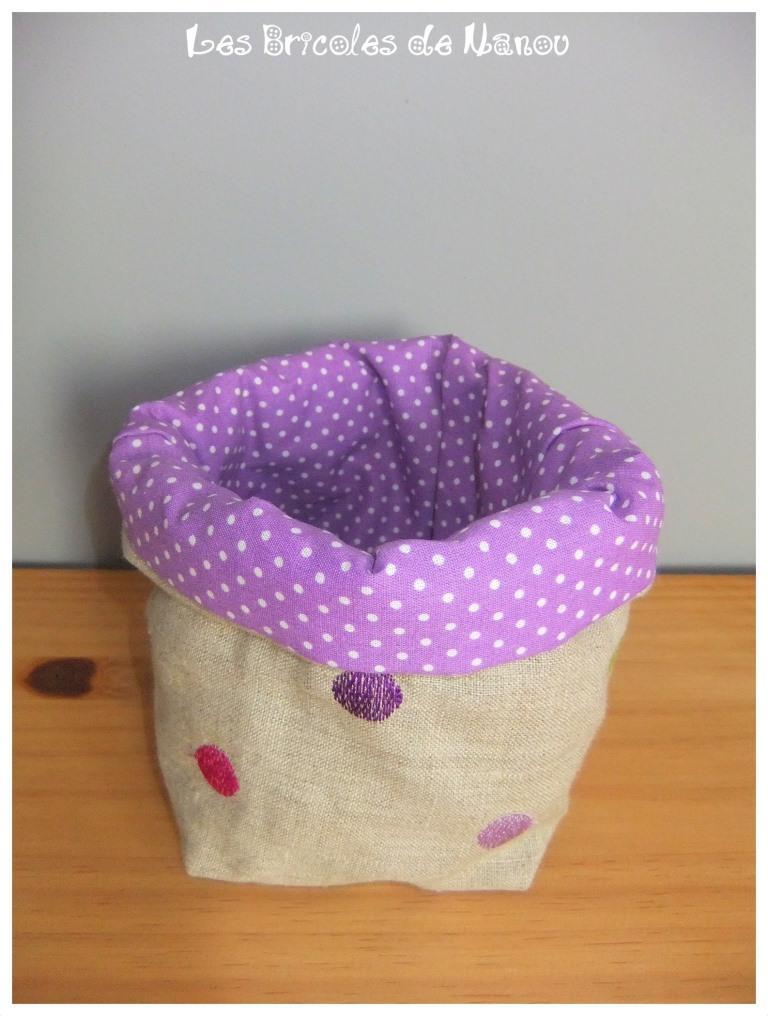 Panier range tout moyen violet à pois