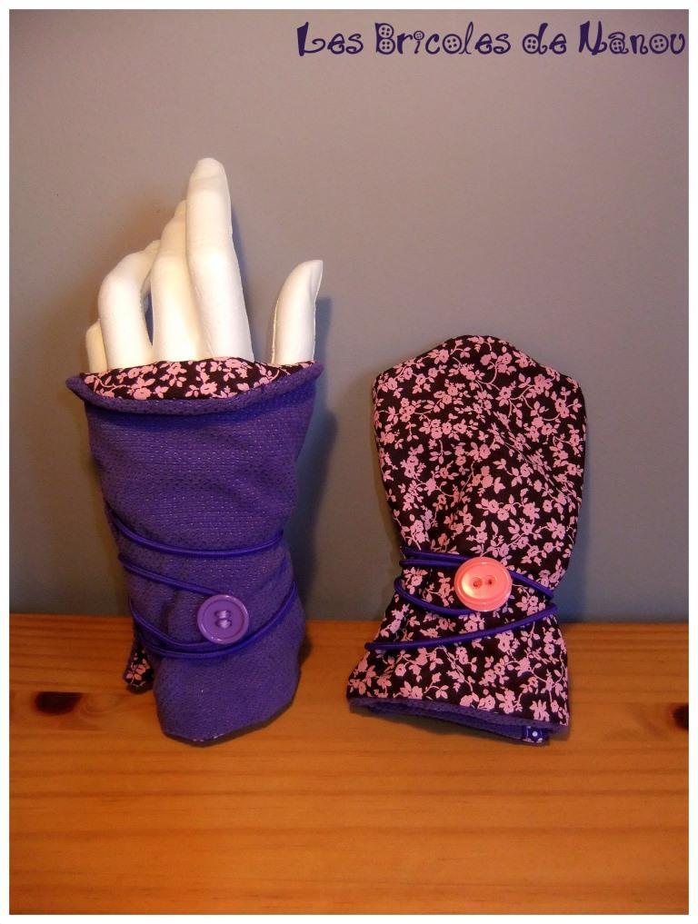 mitaines réversibles coton violet marron et rose à fleurs