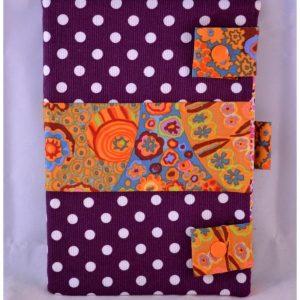 Carnet de note violet à pois blancs