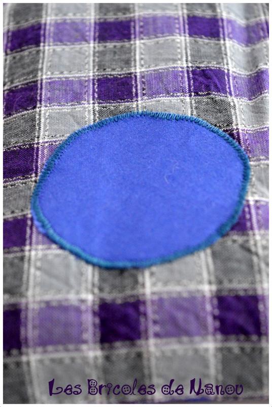Bouillotte ventrale bleue grise violette à carreaux