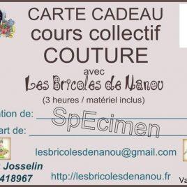 Carte cadeau cours de couture collectif 3 heures