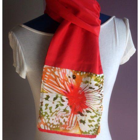 Foulard écharpe coton et dentelle rouge