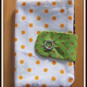 Porte carte blanc à pois oranges