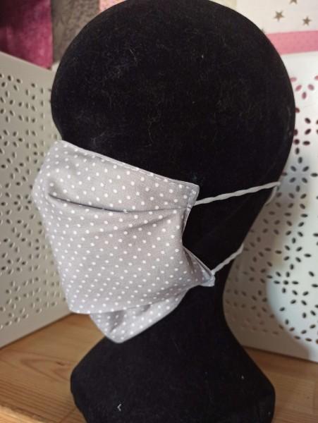 Masque en tissu lavable simple gris à pois